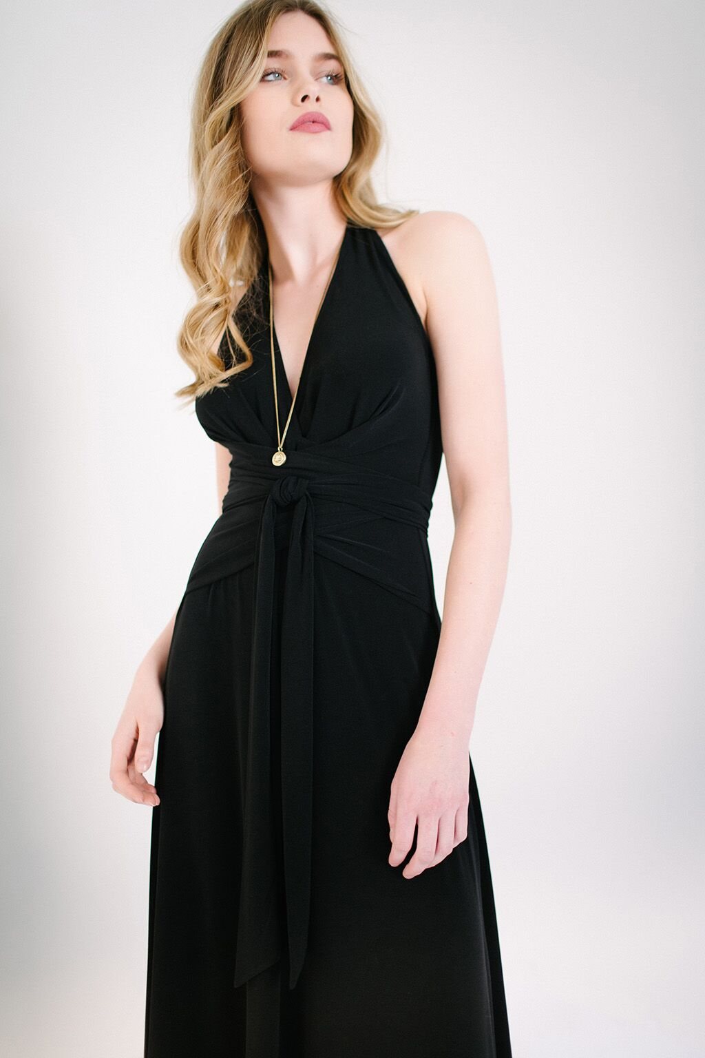 KOKOON Origami Halter Maxi Dress in Black Detail