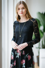 KOKOON Crop L/S Lace Top Front Black