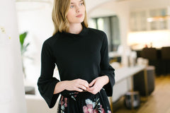 KOKOON Cropped Liberty Bell Mock Neck Black with Bell Sleeves