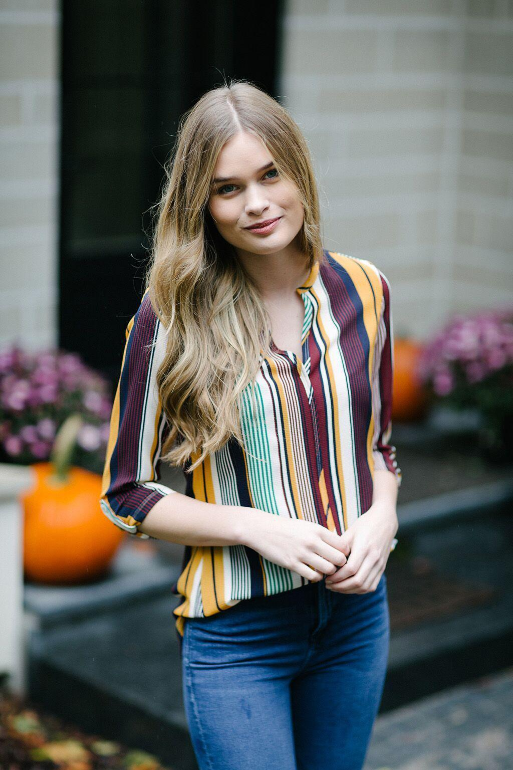 KOKOON Santa Fe Crepe Blouse in Gopher Stripe 2