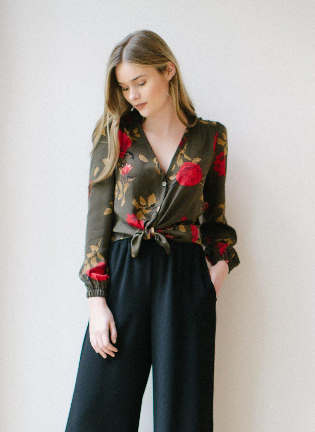 KOKOON Maeve Charmeuse Blouse in Olive
