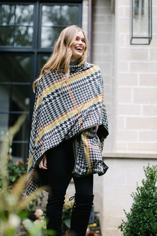 KOKOON Rah Rah Reversible Poncho Cape Plaid