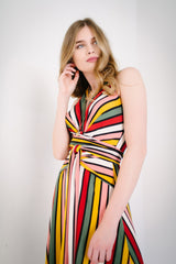KOKOON Origami Halter Dress in Xanadu Stripe Closeup