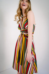 KOKOON Origami Halter Dress in Xanadu Stripe