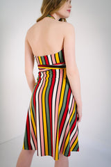 KOKOON Origami Halter Dress in Xanadu Stripe Back