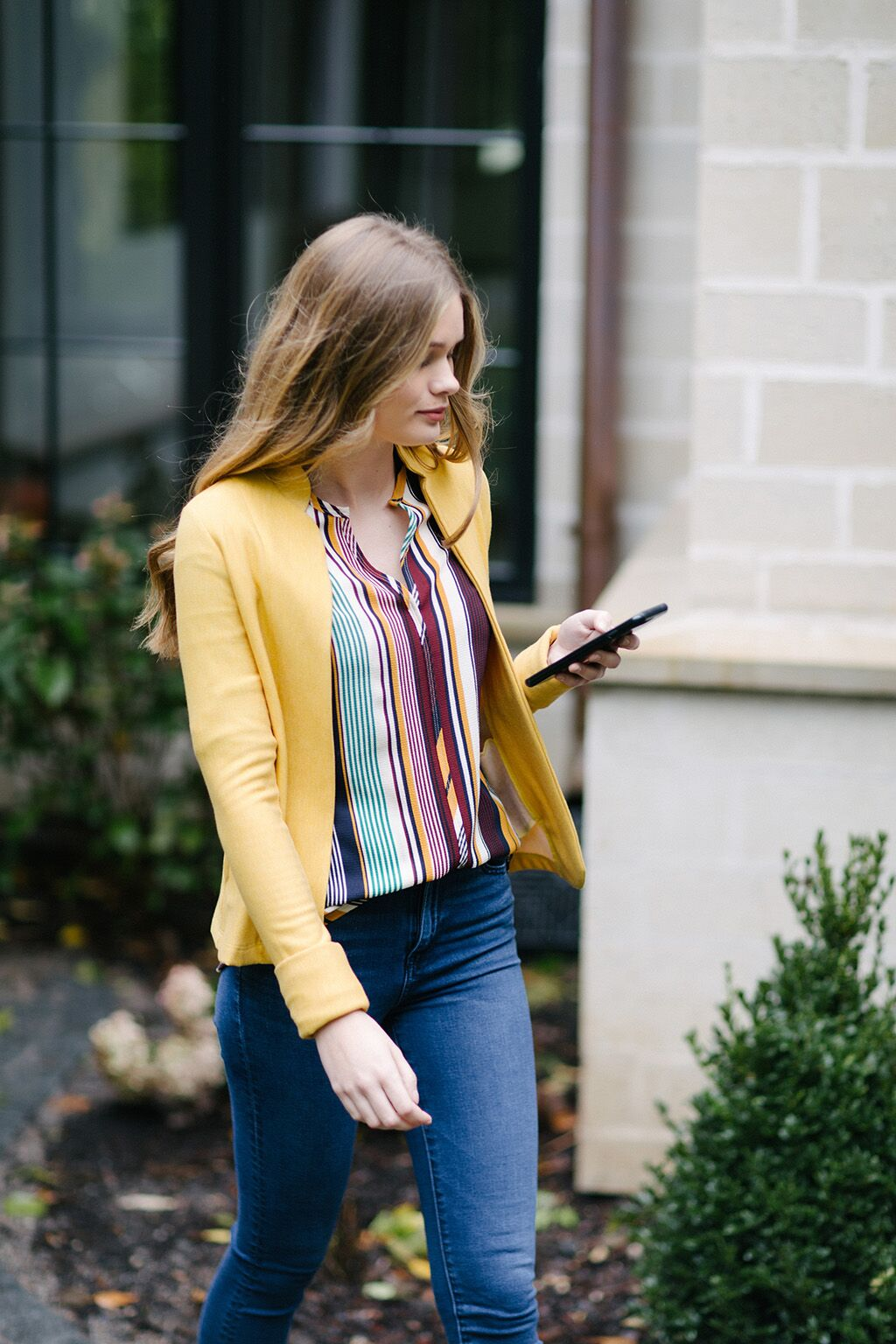 KOKOON Santa Fe Crepe Gopher Stripe blouse and gold Jacket