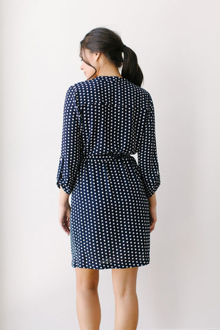 Short A Star is Born Duster Dress Navy Dot Back