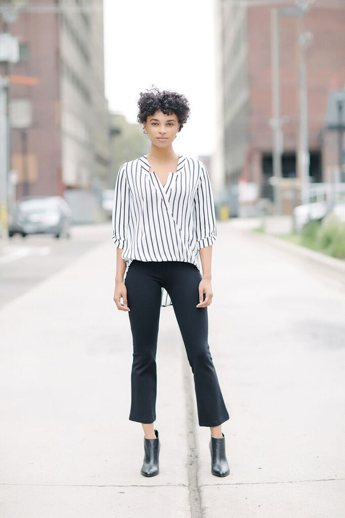 KOKOON A Star is Born Blouse in Black White Gangster Stripe 2