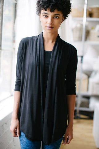 KOKOON Draped Cardigan in Black