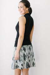 KOKOON Stacked Deck Skirt in Black & White Print Back