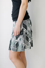 KOKOON Stacked Deck Skirt in Black & White Print Side