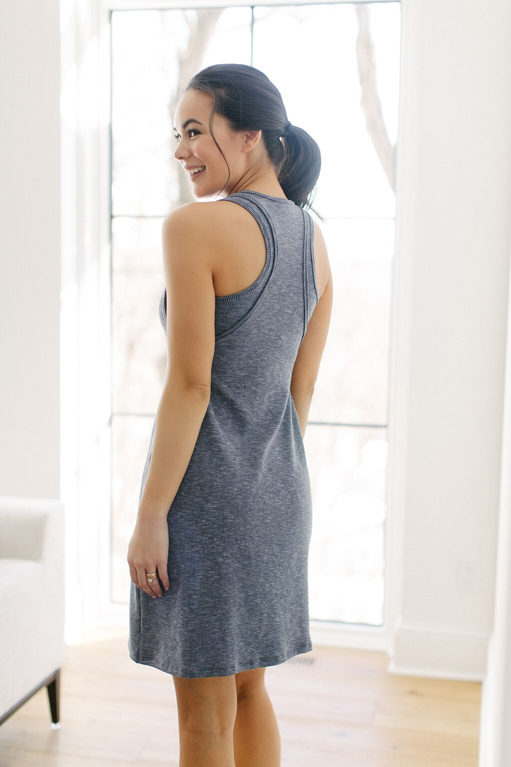KOKOON Wing Ding Racerback Dress in Navy Back