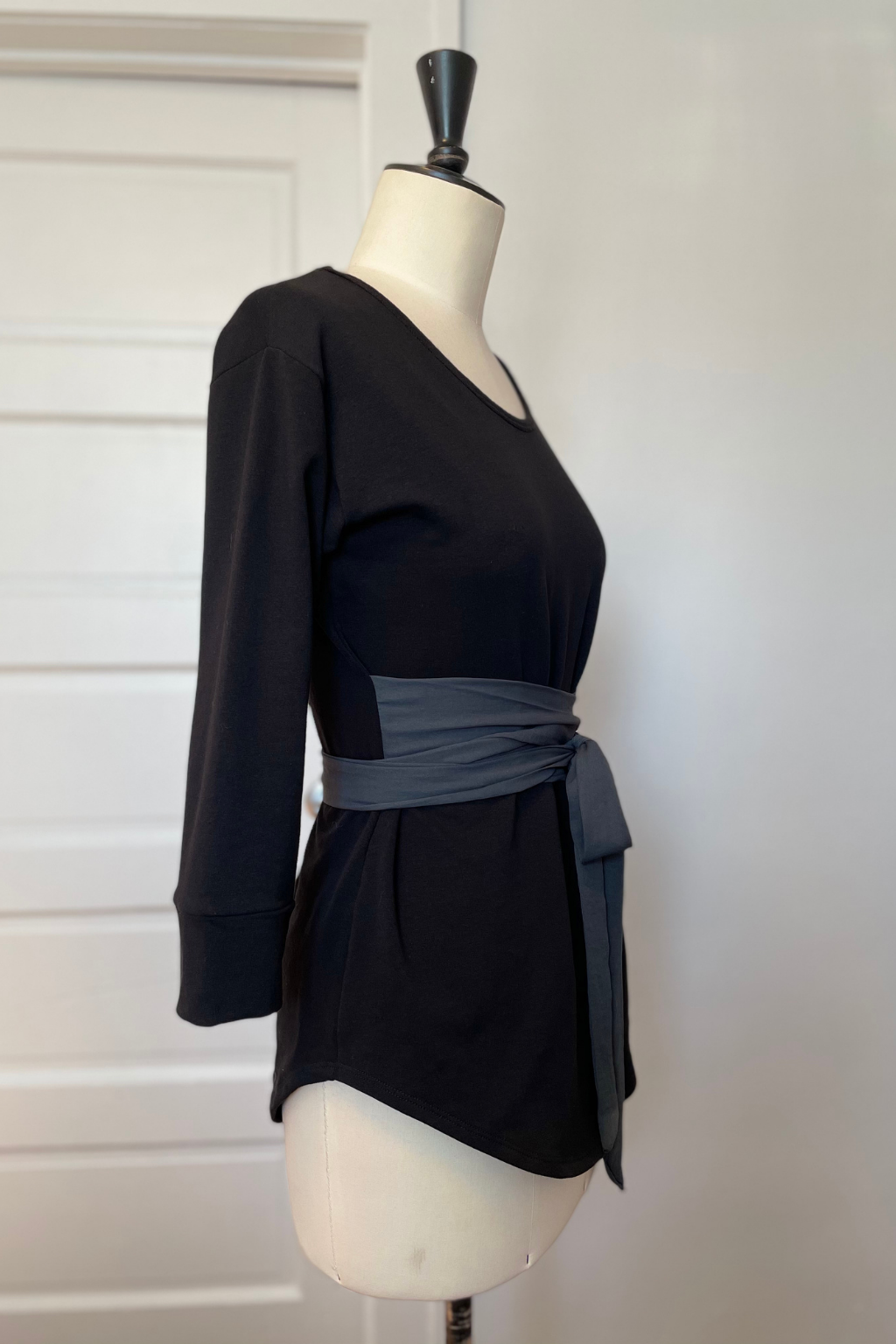 KOKOON Sweet Sweat French Terry and Chiffon Wrap Top in Black and Charcoal Side