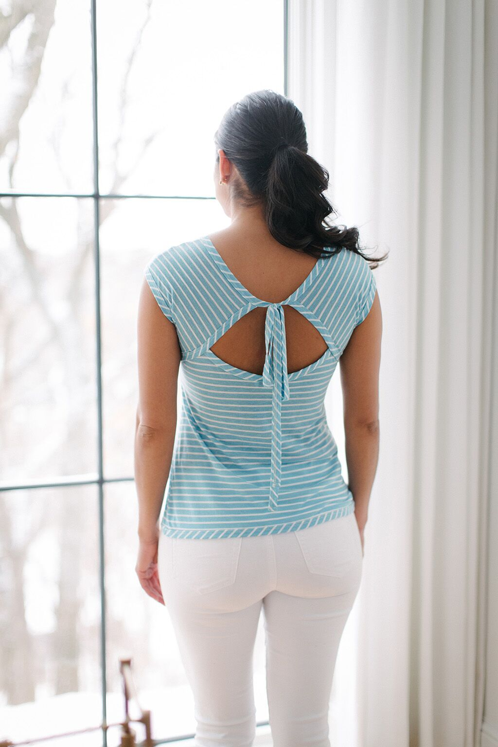KOKOON First Date Tee Aqua Stripe Back