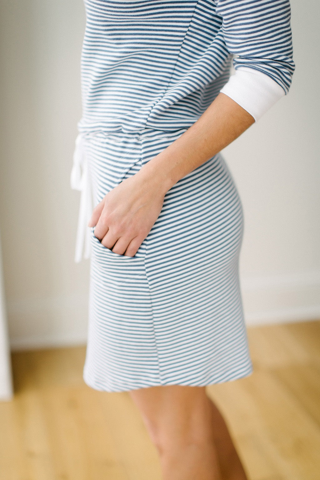 KOKOON Nantucket Drop Waist Dress in Sailor Stripe Side Skirt