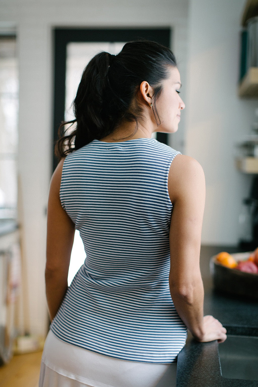 KOKOON Pull Tab Tank in Blue and White Sailor Stripe Back