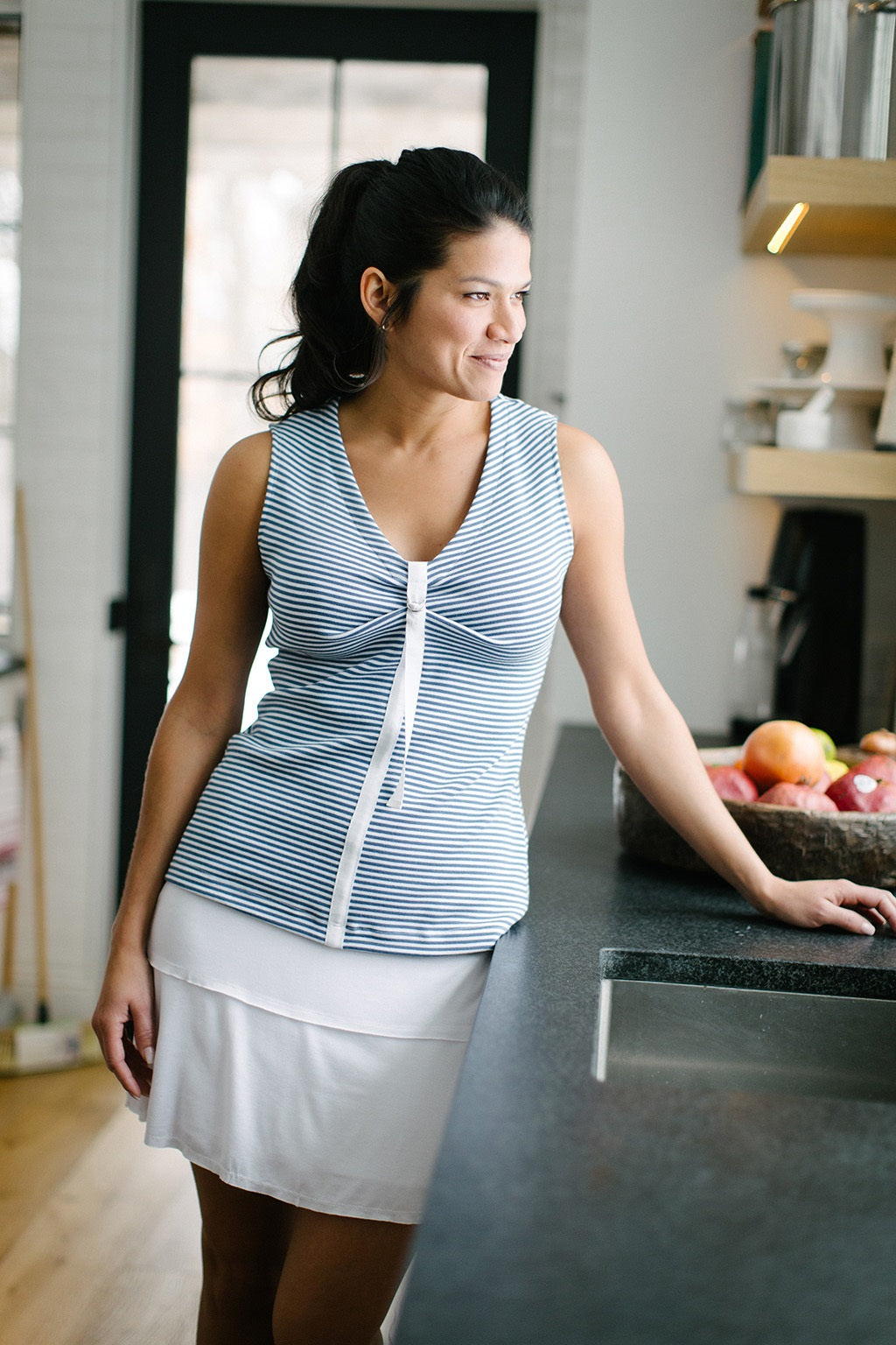 KOKOON Pull Tab Tank in Blue and White Sailor Stripe 1