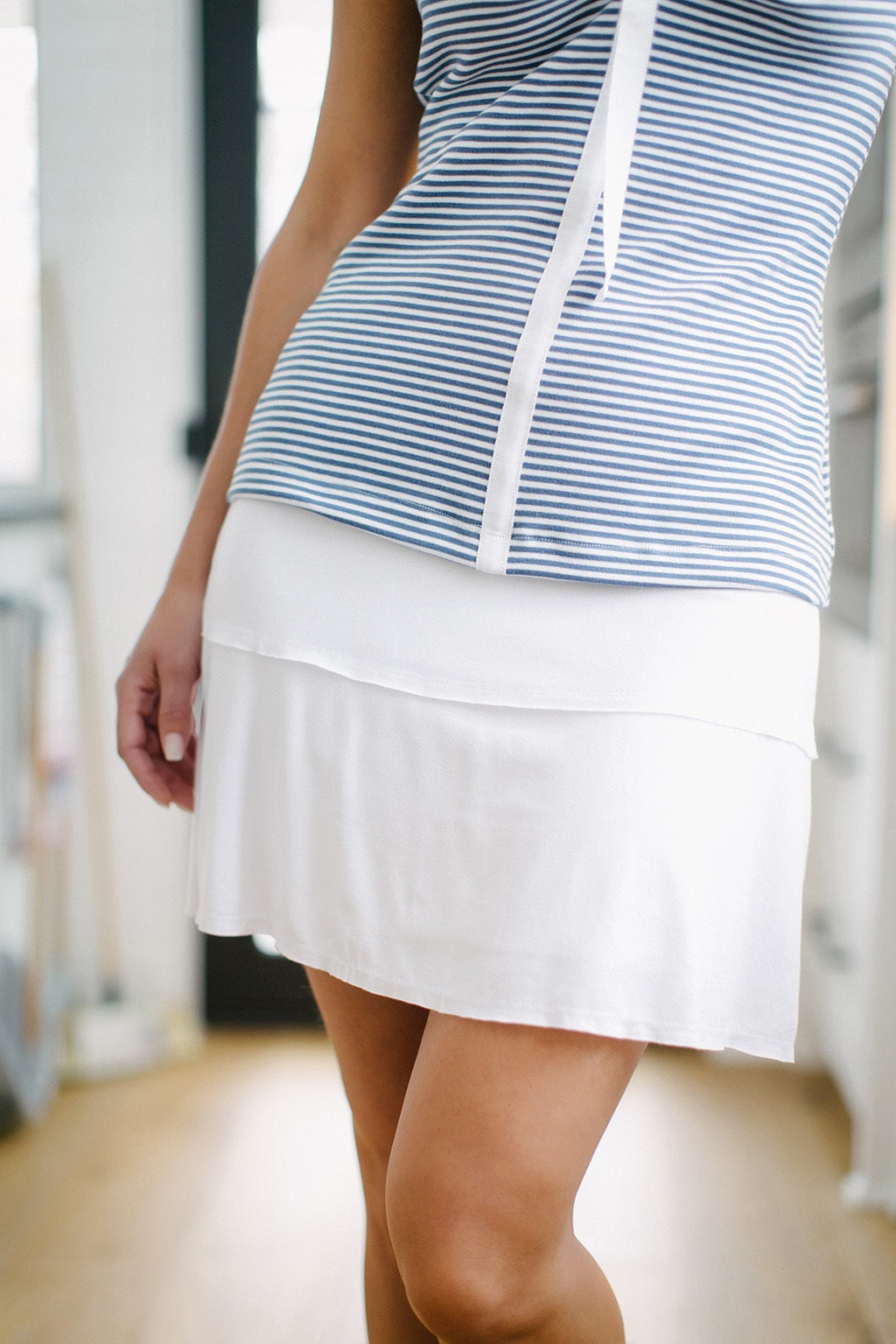 KOKOON Stacked Deck Skirt in White Front