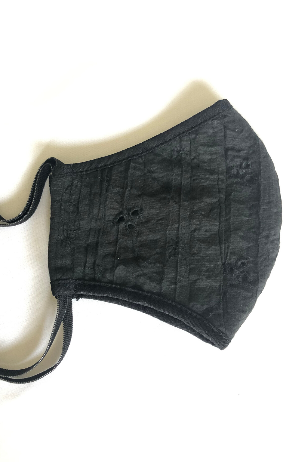 KOKOON Covid 19 cornovirus non medical Reusable cloth face mask in Black Cotton Eyelet 2