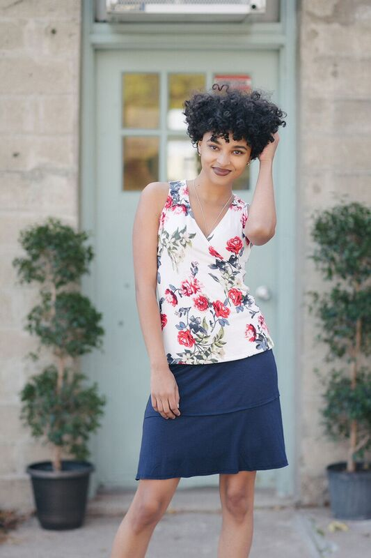 KOKOON Stacked Deck Skirt Navy with Floral Wrap Top
