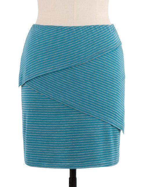 KOKOON Separates Aqua/Grey Stripe / S Layer Cake Skirt
