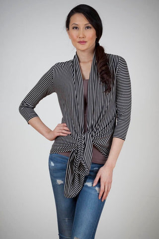 Draped Cardigan in Slate