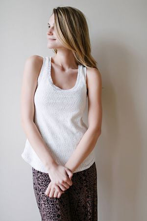 KOKOON Diamond Lace Tank Ivory