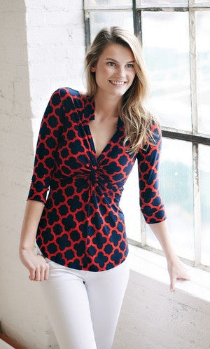 KOKOON Separates Navy Red Lattice / XS Splendid Twist Blouse