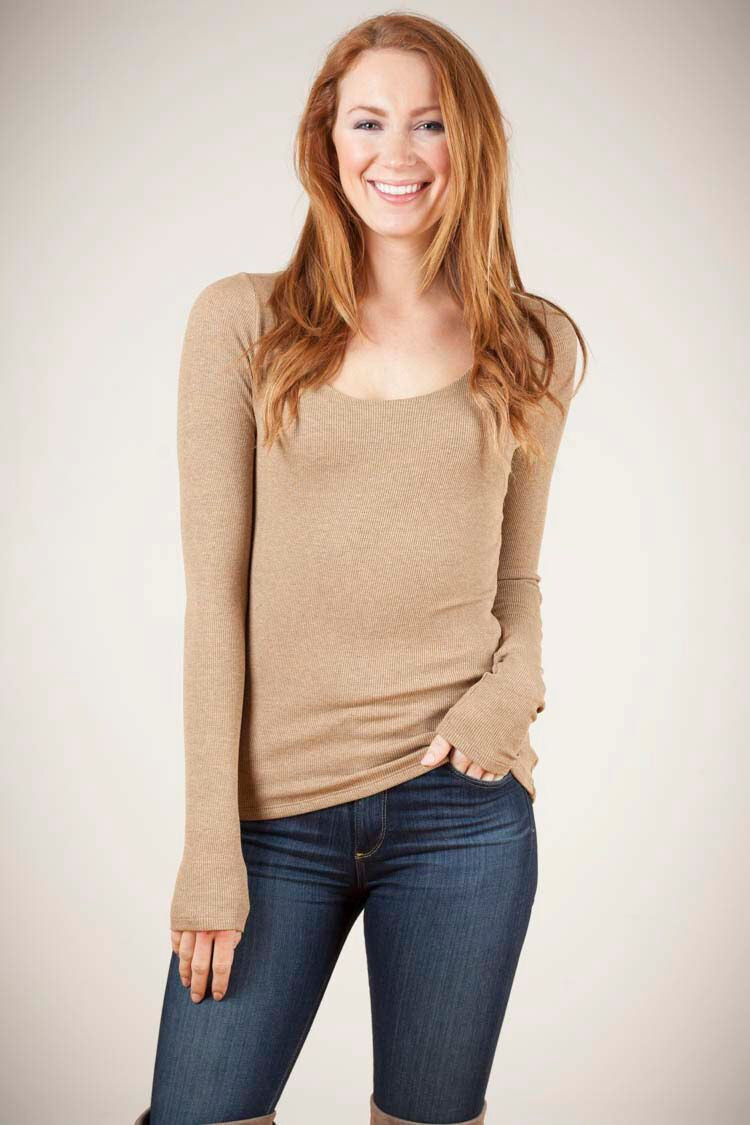 KOKOON Rib Knit Scoop Neck Tee: more colors available