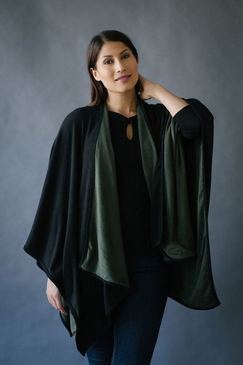 KOKOON Separates Olive/Black / One Size Reversible Poncho Cape