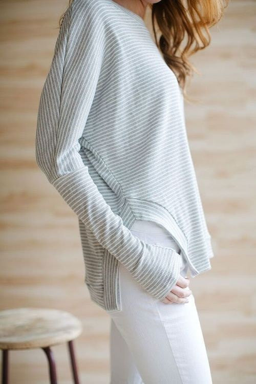 KOKOON Separates Pale Grey Stripe / XS Over Easy Pullover