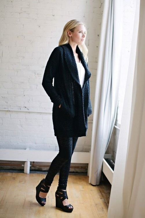 KOKOON  The Big Easy Sweater Coat in Black Side View