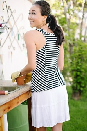 KOKOON Stacked Deck Skirt in White Back 2