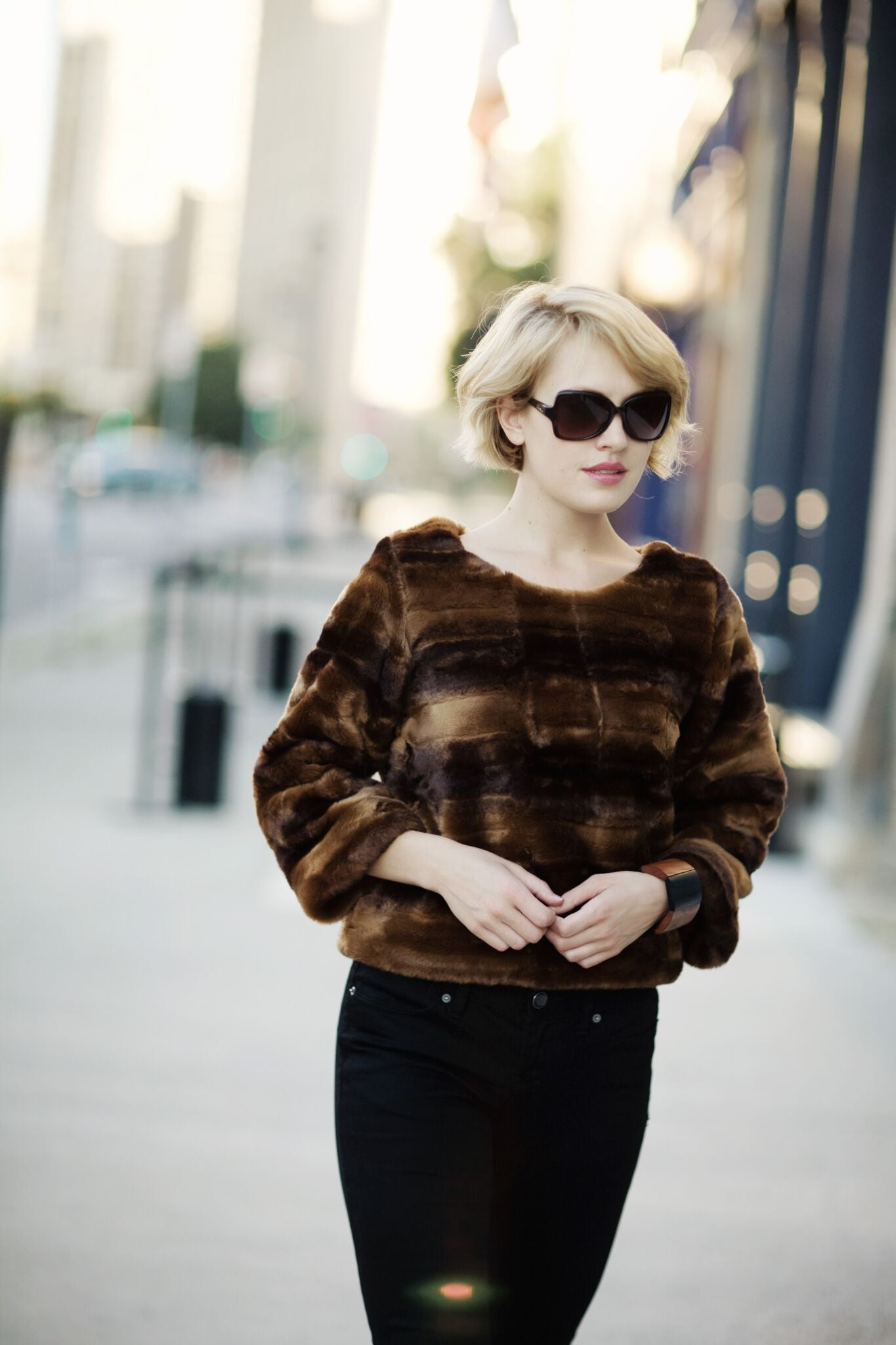 KOKOON Audrey Faux Fur Pullover in minky kitty