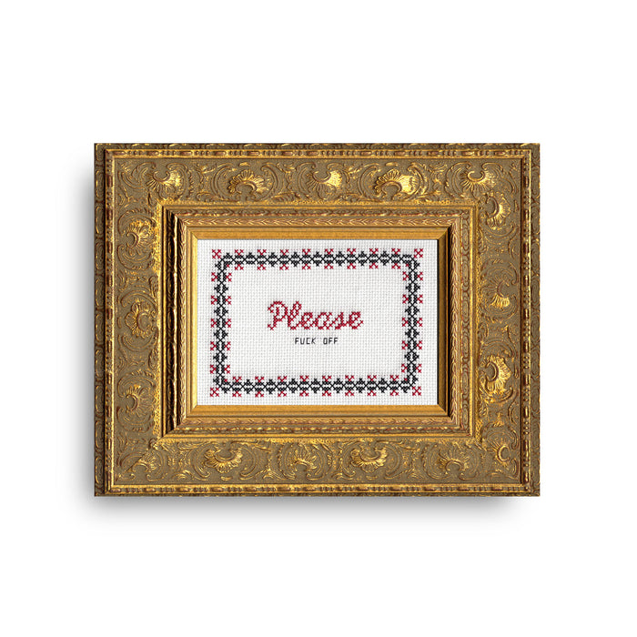 Please Fuck Off Cross Stitch Kit - Fuck Shit Shop