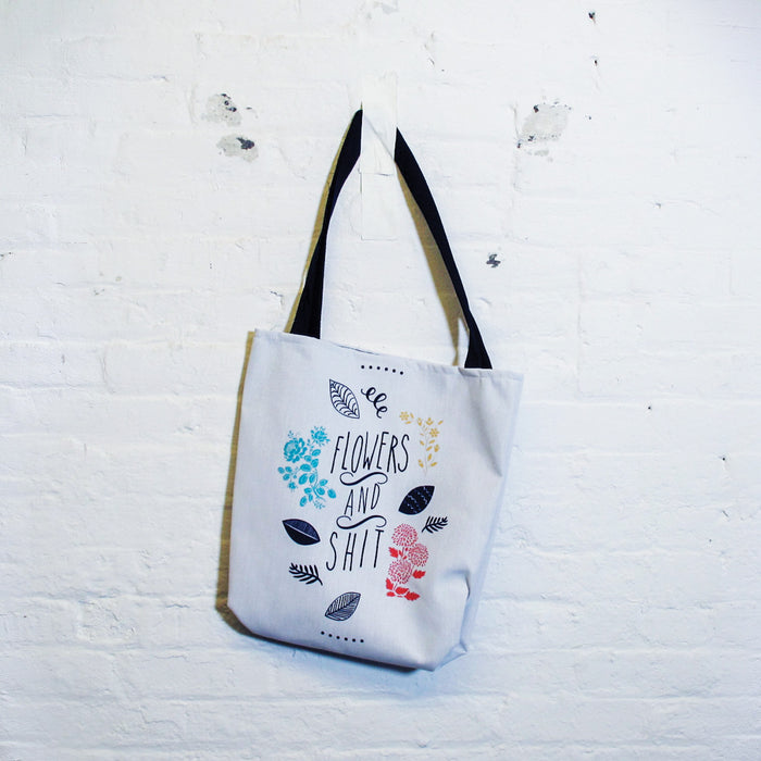Flowers and Shit Tote Bag - Fuck Shit Shop