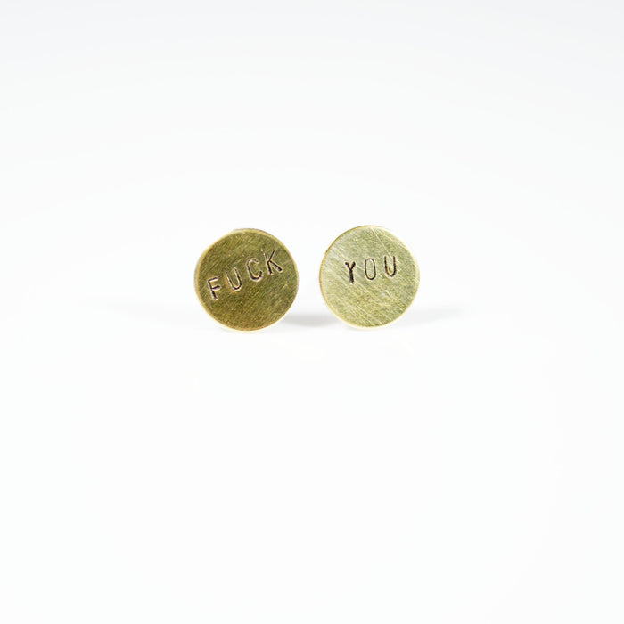 Fck You Circle Stud Earrings - Fuck Shit Shop