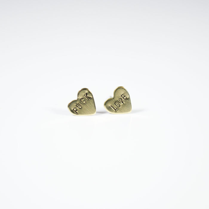 Fuck Love Heart Stud Earrings - Fuck Shit Shop