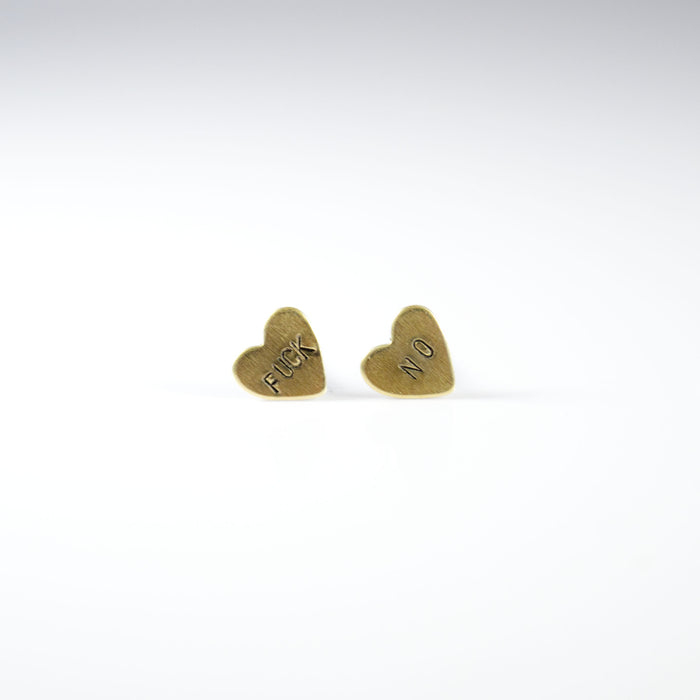 Fuck No Heart Stud Earrings - Fuck Shit Shop