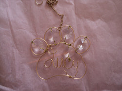 Pet Paw Wire Paw Crystal Suncatcher Memorial With Name