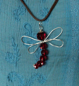Handmade Dragon Fly Pendant Necklace on Leather Cord Red Beaded Memorial Totem