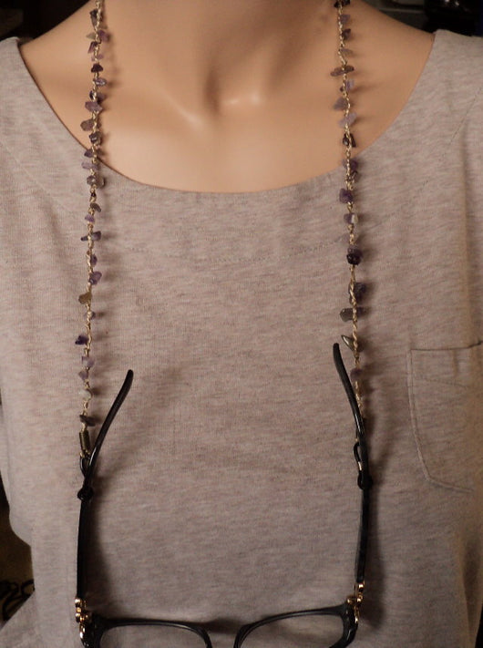 Eyeglass Chain Eyeglasses Neck Chain Real Amethyst Crystals Sunglasses Neck Chain Glasses Holder
