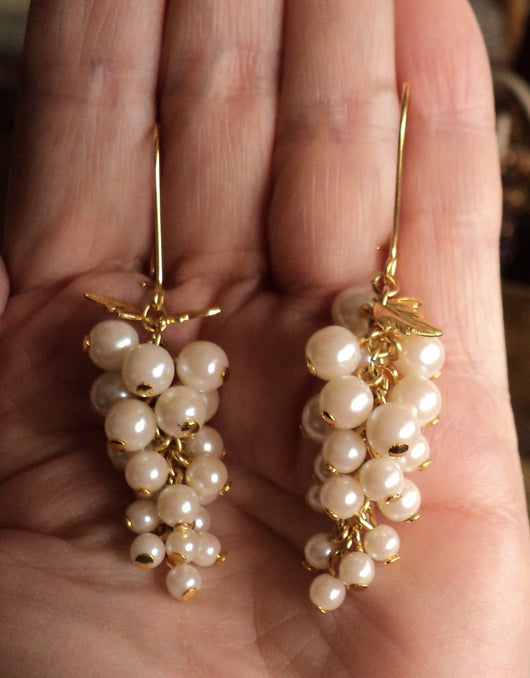 Handmade Pearl Glass Crystal Beaded Earrings