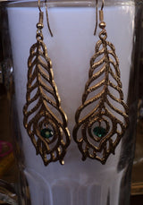 Feather Earrings Gold Dangle Chandelier Earrings Striking on or as Gift Evening or Wedding Wear