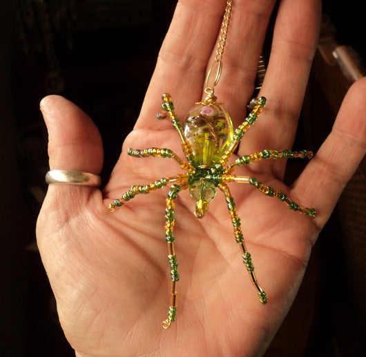 Peridot Crystal Spider Stunning Beaded Crystal Hand Made Spider Suncatcher Totem Rear View Mirror Decor