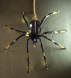 Amethyst Crystal Spider Stunning Beaded Crystal Hand Made Spider Suncatcher Totem Rear View Mirror Decor