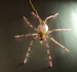 Pink and Gold Crystal Spider Stunning Beaded Crystal Hand Made Spider Suncatcher Totem Rear View Mirror Decor