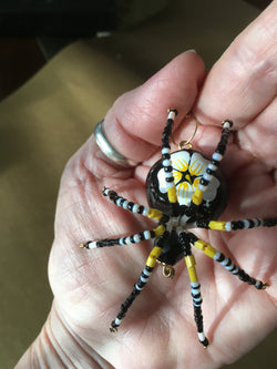 Black Daisy Spider Stunning Beaded Crystal Hand Made Spider Suncatcher Totem Rear View Mirror Decor Christmas Spider