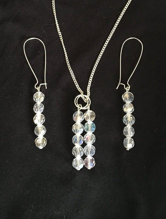 Necklace and Earrings Aurora Borealis Crystals Earrings Matching Necklace
