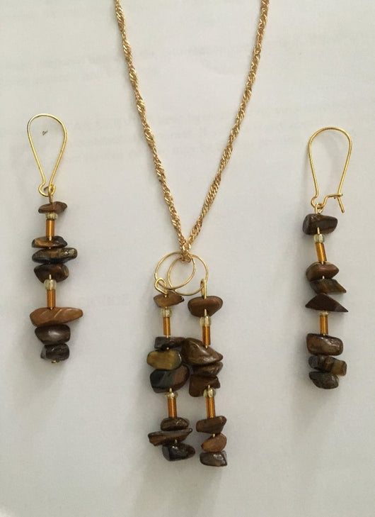 Necklace and Earrings Tiger Eye Crystals Earrings Matching Necklace